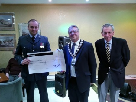 Flt Lt Frost RAF VR(T) Receives Cheque from West Bridgford Conservative Club
